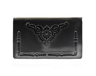 Non leather wallet / women's wallet /  vegan wallet / minimalist wallet / black PVC wallet / wallet for her / unique wallet / practical