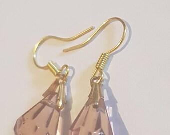 Purple dangle drop earrings. Purple crystal earrings