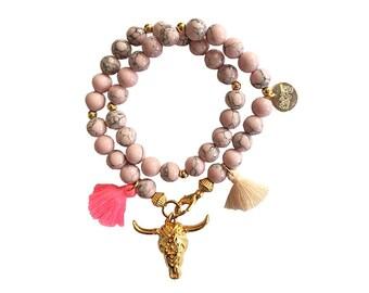 hippie bracelet rose boho bohemian peace pear warpbracelet hippiejewellry gypsy armcandy festival naturalstonebeads bull