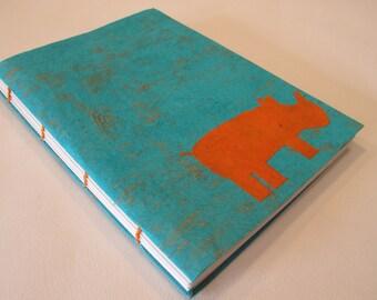 Rhino Handmade Journal Notebook: Turquoise and Orange Rhinoceros Coptic Bound Book