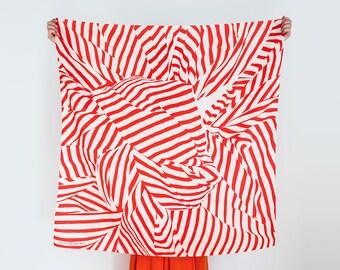 Free Shipping Worldwide / Stripe furoshiki (red) Japanese eco wrapping textile/scarf, handmade in Japan