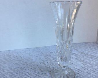 Vintage Cut Glass Bud Vase / Wedding Decor / Party Decor / Glass Centerpiece