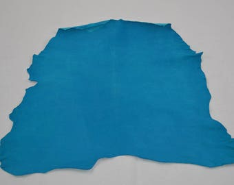 Turquoise velvet lamb leather skin