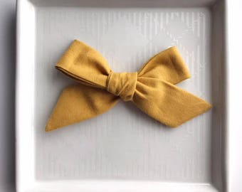 Mustard Hand Tied Bow - Baby Girl Nylon Headband and Bows - Girls Fabric Bow - Newborn Bow - Mustard Yellow Bow - Fall Bow - Yellow Headband