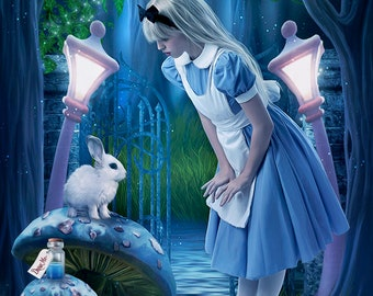 Wonderland print, Wonderland art, Alice art print, fantasy art print, Fairytale art, Fairytale print, White rabbit art, Fairytale decor