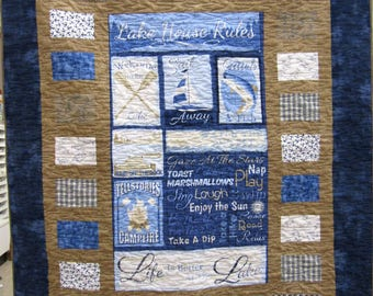 Lake House Rules Lap or Throw Quilt or Wallhanging