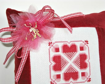 "Red Hearts Pillow Valentines Love Wedding Cross Stitch Patchwork Quilt Ribbon Vintage Millinery Decoration 7-1/2"" Square Primitive Folk Art"