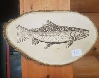 Brook Trout - Wood Burning - Basswood