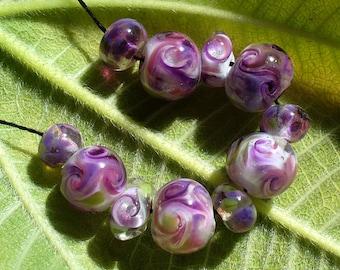 Lampwork beads/glass beads/handmade lampwork/sra lampwork/ purple/twists/swirls