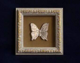 White butterfly art, white butterflies, butterfly painting, white wall decals, butterfly wall decor, original butterfly, butterfly frame art