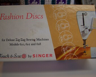 Singer Touch & Sew Fashion Discs 12 Cams for Deluxe Zig Zag Sewing Machines Models 620, 625 and 628