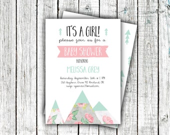Baby Shower Invitation- Floral Mountains, Printable Invitation, Mint, Pink, Flowers, Girl's, Modern Baby Shower, Outdoors #32