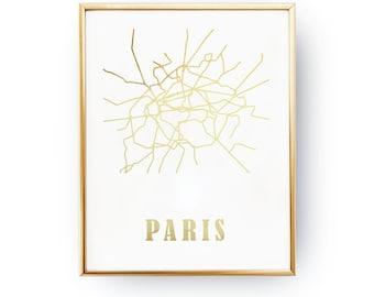 real gold foil print paris metro map metro map fashion art subway metro stations print paris poster transit lines subway map