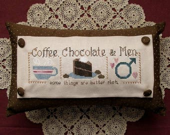 COFFEE, CHOCOLATE & MEN... Some Things Are Just Better Rich; Digital Cross Stitch Pattern; Instant Pdf Download; Humor