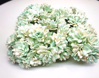 50 pcs. white mint green gypsophila flowers mulberry paper for Crafts 20 mm.#561