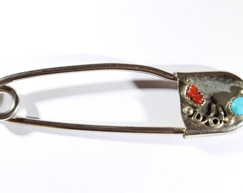 Vintage Native American Sterling Sliver with Coral and Turquoise Large Safety Pin