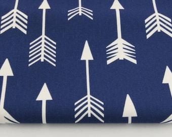 100% cotton fabric piece 160 x 50 cm, textile printing, cotton 100% white arrows on a blue background
