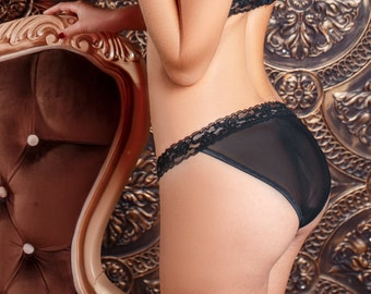 FLORI - Black Sheer Classic Briefs/ Classy briefs/ Cheeky/Black Panties/  Mesh and Lace Lingerie/ Sheer Panties / Panties / Lingerie / Sheer