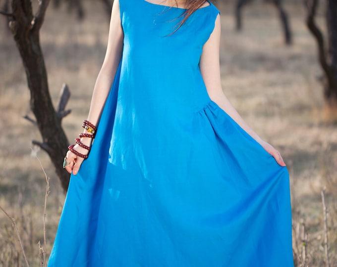 Linen dress - Summer dress - Women long dress - Sleeveless Dress - Round Neck - Pleated Dress/Decorative pleat - Made to order