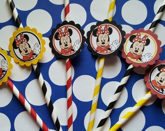 Minnie mouse inspired straws, great for party favors, available Elmo/Peppa pig/my little pony/shopkins/team umizoomi/little einsteins/Trolls