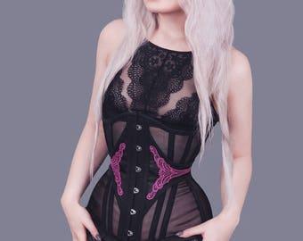 Gothic steel bones tightlacing waist training black sheer mesh purple violet goth lace underbust longline corset