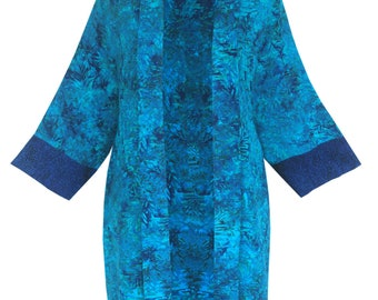 "Long Plus Size Kimono Jacket, Women's Dressy Plus Size Clothing, Art Wear Batik Long Jacket Front 38"", Kimono for Special Events, One Size"