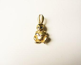 Bunny rabbit brooch: cute gold plated bunny rabbit pin with blue rhinestone eyes, bunny brooch, gold rabbit pin, gold bunny