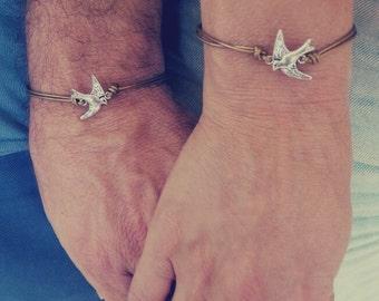 Love Birds, Couple bracelets, His Hers Bracelet, Leather Bracelet, Matching Bracelets, Couples jewelry, Boyfriend Girlfriend,His And Hers