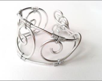 aluminum silver scrolls wire Cuff Bracelet