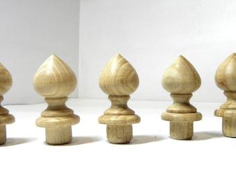 Wood Finial Finials Post, Clock, Craft Wooden Vintage Cap Newel Furniture 5 items