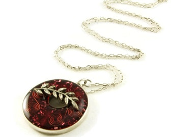 Orgone Energy Toggle Pendant - Antique Silver Donut - Red with Garnet Gemstone - Artisan Jewelry
