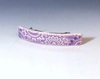 Purple Steampunk Barrette, Medium Size Barrette, Porcelain Barrette, Ceramic Barrette, French Barrette, Lavender Ceramic Hair Barrette