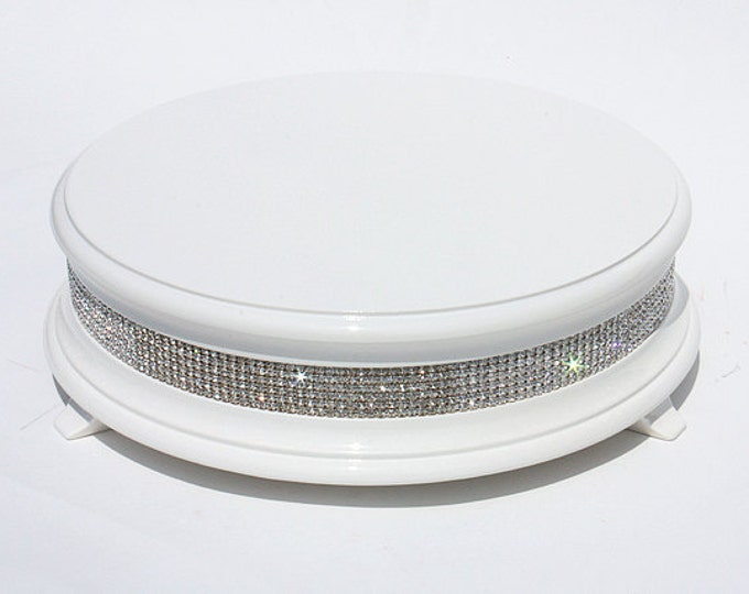 "16"" White Diamond Bling Wedding Cake Stand"