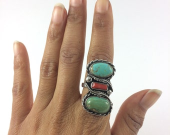 Turquoise & Coral Native Sterling Ring Size 7
