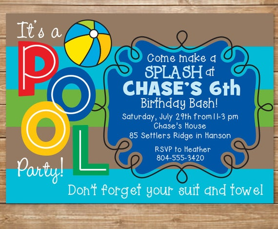 pool birthday party invitation boys swimming party water