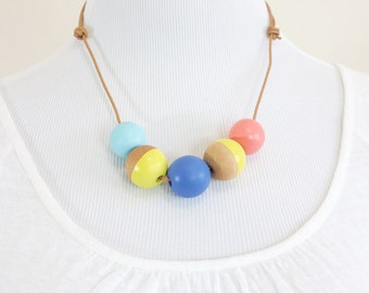 Hand Painted Wooden Bead Necklace - Banana Fana