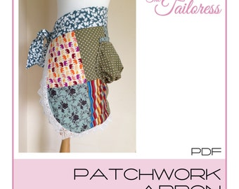 Patchwork Apron PDF Sewing Pattern Kitchen Cooking Pinafore Digital ePatten Instant Download