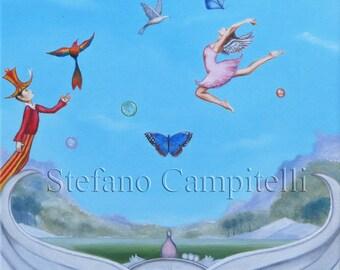 Campitelli original oil painting on canvas surreal fantasy Art pop surrealism