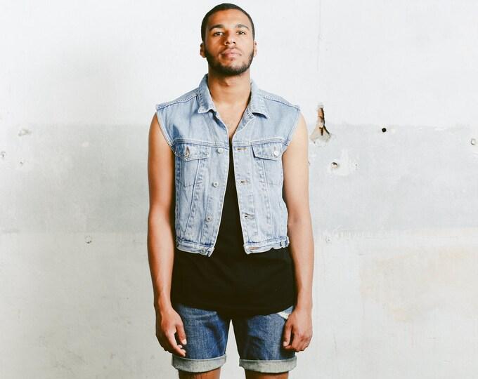 Mens Denim Vest . Vintage Light Wash Jean 90s Jacket Unisex Jean Vest Faded Trucker Vest Sleeveless Top Hipster Jean Vest . size Medium M