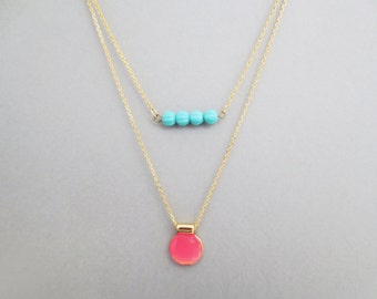 Double strands layered, Coral and turquoise, Gold, Necklace, Layering necklace, Lovers, Friends, Mom, Sister, Gift