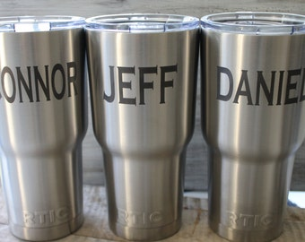Sale-Set of 5-7-RTIC-Custom Laser Engraved 30 oz RTIC Cup-RTIC tumbler Groomsman Rtic cups