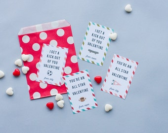 SPORTS THEME Classroom Valentines, Customized Kid's Valentine, games, printed or digital pdf