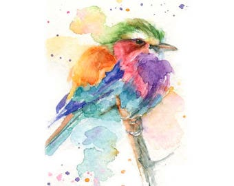 Watercolor Bird, Lilac Roller Print, Colorful Bird Print, Bird Art, Lilac Breasted Roller Art, Bird Print