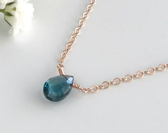 Blue Topaz Necklace - Necklaces for Women - Dainty Necklace - Gemstone Necklace - Birthstone Necklace - December Birthstone  - Gift for Her