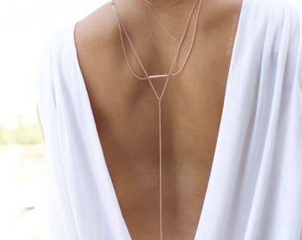 Apollo - Back Necklace (BN-05R) Rose Gold