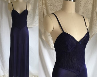 Vintage 1970's Nightgown | Silky Blue Polyester | 70's does 40's Slip Dress | Size XSM/SM