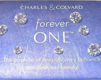 Forever One Moissanite 8.5mm rnd 2.5 ct Jewel Charles and Colvard D E F color !