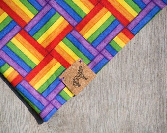Pride Flag Rainbow Dog Bandana Accessory Wolfpack Wolf Design 100% Cotton Eco Friendly Festival Customisable Vegan Tag Pet Wear