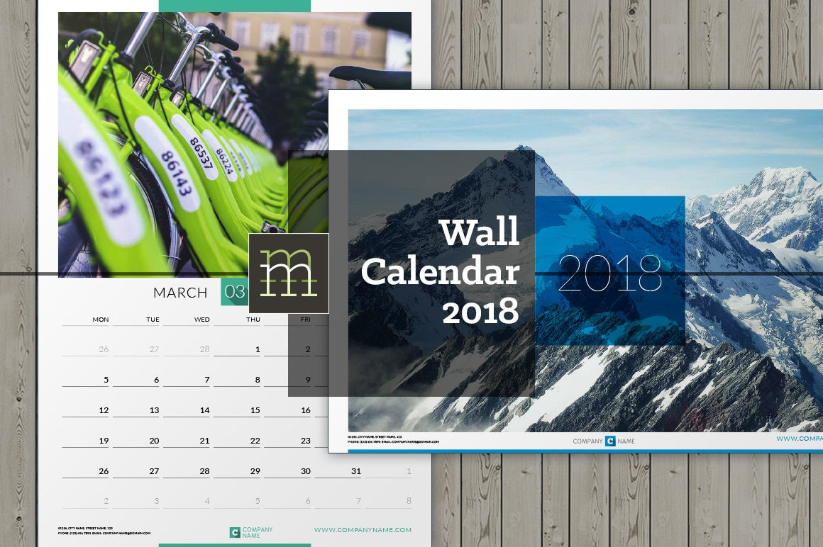 Editable Wall Calendar 2018 InDesign Template