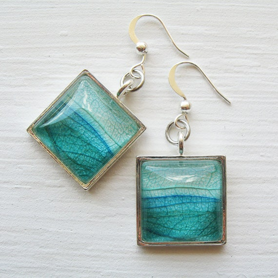 Real Leaf Earrings - Land and Sky - Layered Leaf Green Teal and Silver Square Earrings